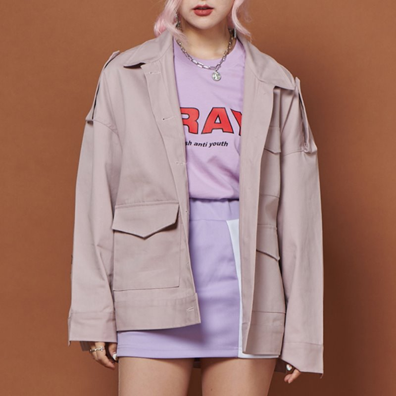 FR FLAP POCKET JACKET - DUST PINK