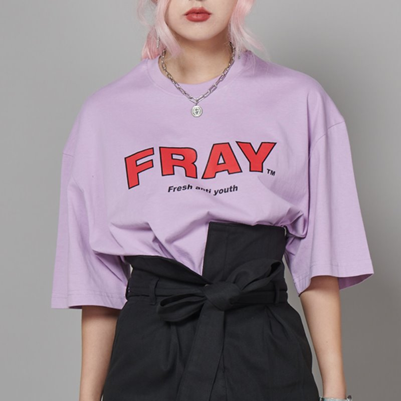 FRAY BIG LOGO T-SHIRTS - PEACH