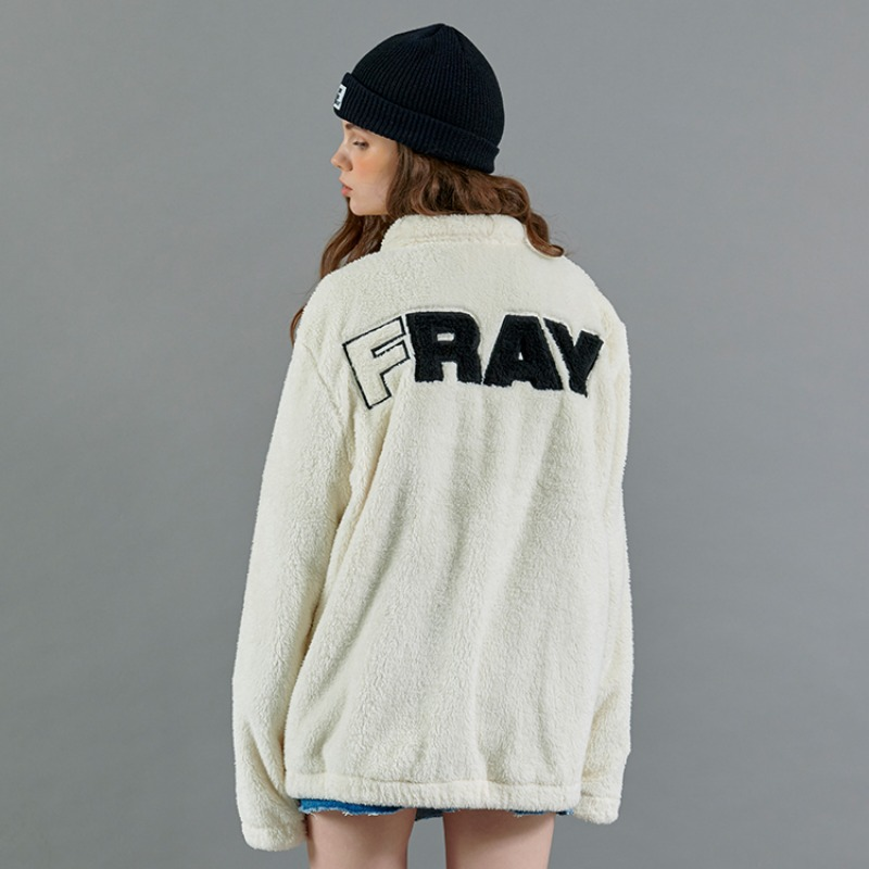 BASIC LOGO FLEECE JACKET - CREAM