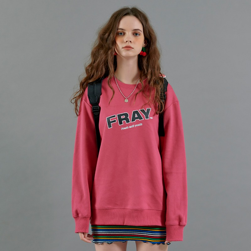 FRAY DIAGONAL LOGO CREWNECK - DARK PINK