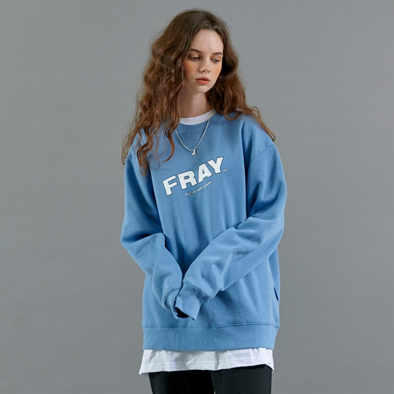 FRAY DIAGONAL LOGO CREWNECK - DARK BLUE