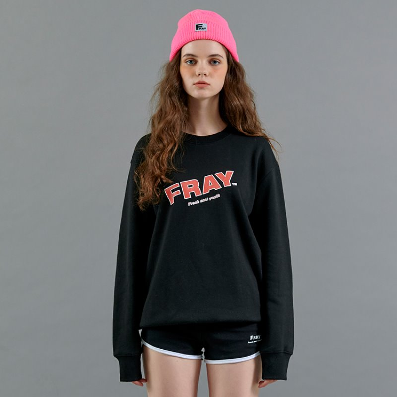 FRAY DIAGONAL LOGO CREWNECK - BLACK