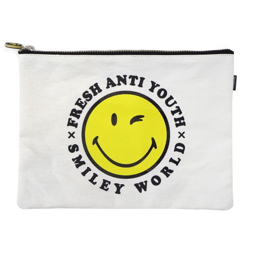 [FRAY x SMILEY] SMILEY LOGO POUCH BAG (MEDIUM SIZE) - OFF WHITE