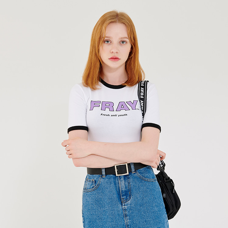 FRAY BIG LOGO CROP T-SHIRTS - WHITE